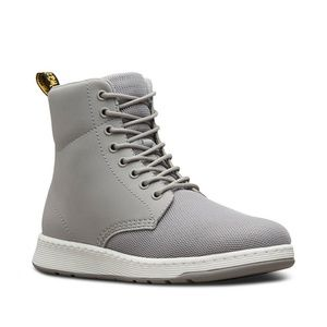 Dr. Martens Mesh Rigal Grey Leather 8 Eye Boots